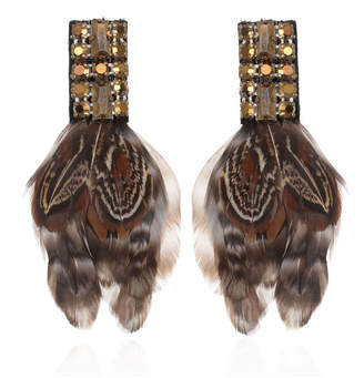 Suzanna Dai Amherst Deco Feather Earrings