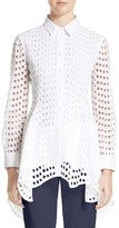 Lela Rose Women's Silk & Cotton Eyelet Peplum Shirt