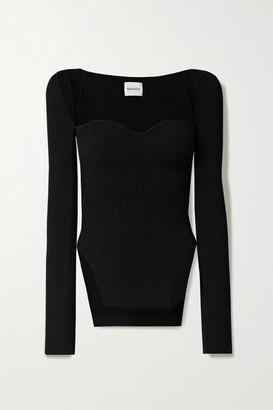 KHAITE Maddy Ribbed-knit Sweater - Black