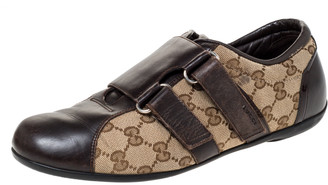 Gucci Brown Guccissima Canvas and Leather Velcro Sneakers Size 40
