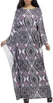 Aecibzo Women's Empire Waist Printed Boho Long Maxi Dress With Plus Size L-3XL (2XL, Grey)