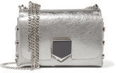 Jimmy Choo Lockett Petite Metallic Brushed-leather Shoulder Bag - Silver