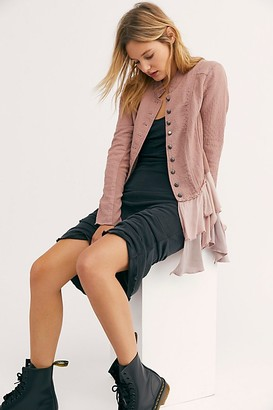 Free People Military Ruffles Blazer