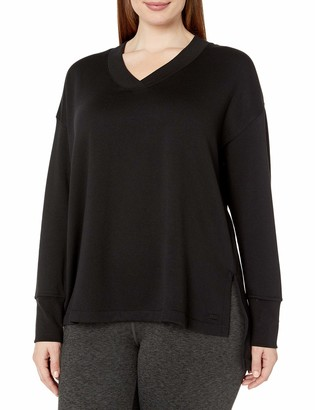 Andrew Marc Women's Plus Size Fabulous Fleece v-Neck Pullover with Side Vents