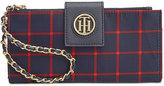 Tommy Hilfiger Plaid Nylon Chain Wristlet Wallet