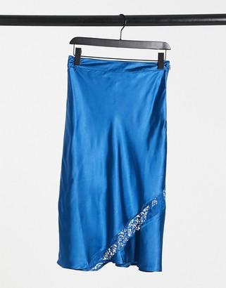 ELVI lace insert slip skirt in teal