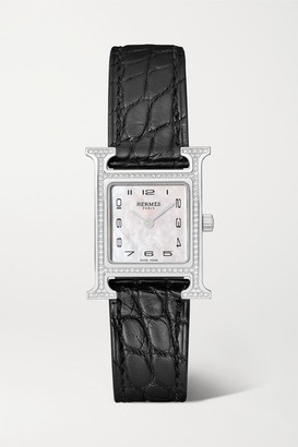 Mother of Pearl Hermès Timepieces Hermes Timepieces - Heure H 21mm Small Stainless Steel, Alligator, Diamond And Mother-of-pearl Watch - Black