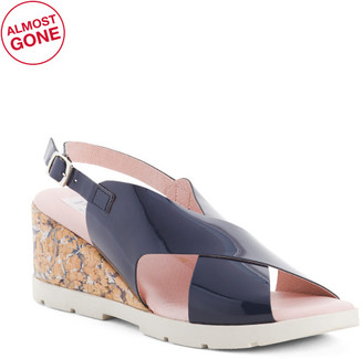 Made In Spain Patent Leather Cross Band Wedge Sandals