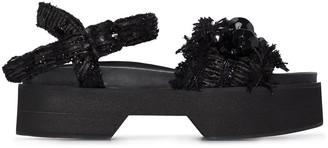 Simone Rocha Crystal-Embellished Flatform Sandals