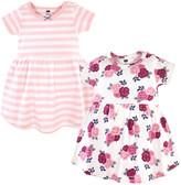 Hudson Baby Girls' Casual Dresses Blush - White & Blush Stripe Floral Cap-Sleeve Dress Set - Infant, Toddler & Girls