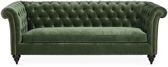 Kim Salmela Hawkins Chesterfield Sofa - Forest Velvet frame, espresso; upholstery, basil green; nailheads, pewter