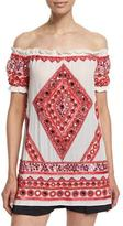 Naeem Khan Off-The-Shoulder Embroidered Peasant Top, White/Red