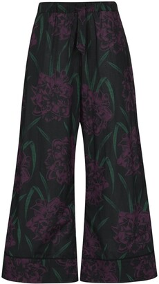 Desmond & Dempsey Narcissus wide-leg pyjama trousers