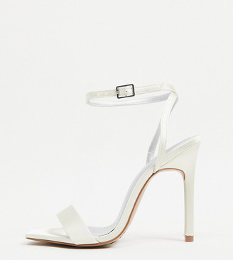 ASOS DESIGN Wide Fit Nala barely there heeled sandals in ivory