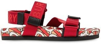 BURBERRY KIDS Monogram Print Touch Strap Sandals