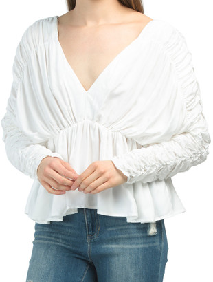 Plunge Neckline Ruched Top