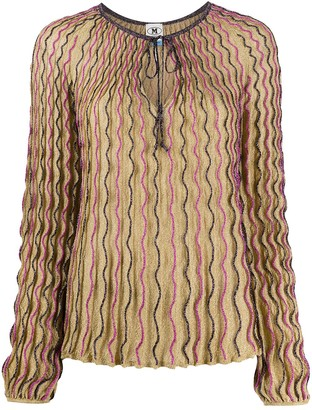 M Missoni Fine-Knit Embroidered Top