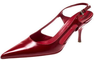 Prada Red Leather Pointed Toe Slingback Sandals Size 36.5