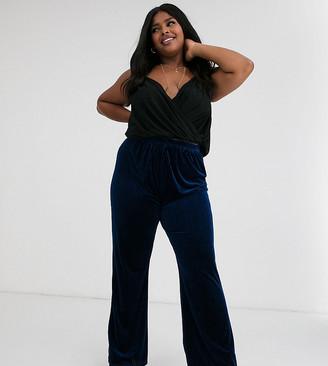 Glamorous Curve wide leg pants in velvet rib-Navy