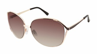U.S. Polo Assn. Women's Pa5046 Metal Oval Sunglasses with Enamel Temple and Tips and 100% UV Protection 65 mm