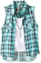 Beautees Girls' Plaid Shirt With Necklace