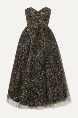 Monique Lhuillier Brie Strapless Ruched Glittered Tulle Gown - Black