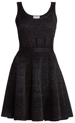 Alexander McQueen Raffia Inset Fit-&-Flare Dress