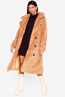 Nasty Gal Womens Are You Teddy Fur It Faux Shearling Longline Coat - Beige - S/M