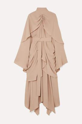 BEIGE Lado Bokuchava - Belted Gathered Layered Cady Midi Dress