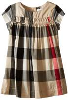 Burberry Check Dress w/ Ruched Panel Girl's Dress