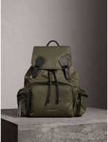 Burberry The Large Rucksack in Technical Nylon and Leather, Green