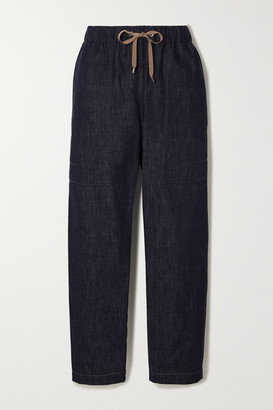 Brunello Cucinelli Bead-embellished Denim Tapered Track Pants - Navy