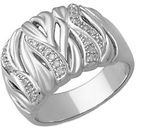 Lord & Taylor Diamond And Sterling Silver Ring