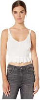 Only Hearts Waffle Knit Cropped Peplum Tank (Off-White) Women's Clothing