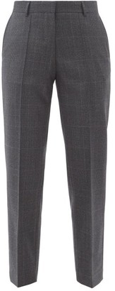 Officine Generale Roxane Checked Wool Tapered-leg Trousers - Grey Multi