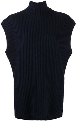 Ganni Roll-Neck Sleeveless Knitted Top