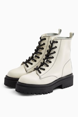 Topshop Womens Alana Ecru Leather Lace Up Boots - Off White