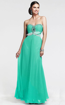 Faviana 7366 Crystal-Crusted Keyhole Chiffon Gown