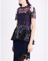 Jonathan Simkhai Two-tone Flutter lace top