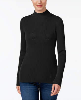 Karen Scott Cotton Ribbed Turtleneck Top