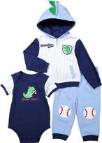 Buster Brown Placid Blue & Medieval Blue Baseball Hoodie Set - Infant
