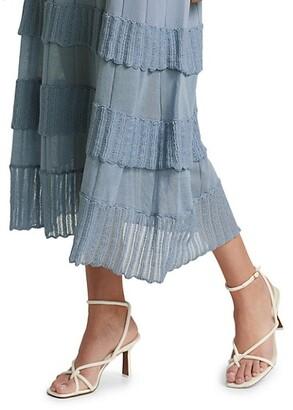 Lela Rose Ruffle Detail Long Sleeve Knit Midi Dress