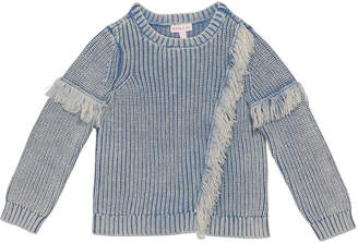 Design History Girls Girl's Denim Colored Fringe Sweater, Size S-XL