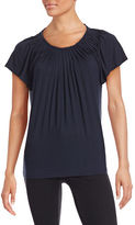 Style And Co. Petite Short Sleeve Pleat Neck Top