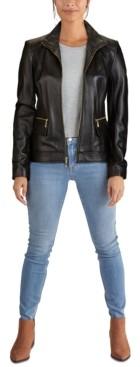 Cole Haan Zip-Front Leather Moto Jacket