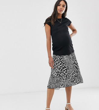 ASOS DESIGN Maternity under the bump pleated midi skirt in animal print
