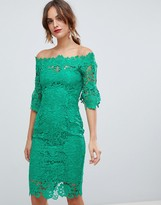 Paper Dolls off shoulder crochet midi dress with frill sleeve in emerald green