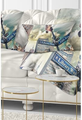 5th Avenue LX East Urban Home Cityscape Library Way and Street Signs Lumbar Pillow East Urban Home