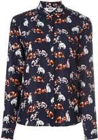 MSGM cat print long-sleeve shirt