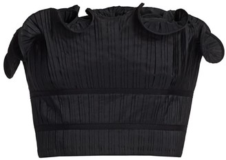 AMUR Oriel Pleated Ruffle Strapless Cropped Top